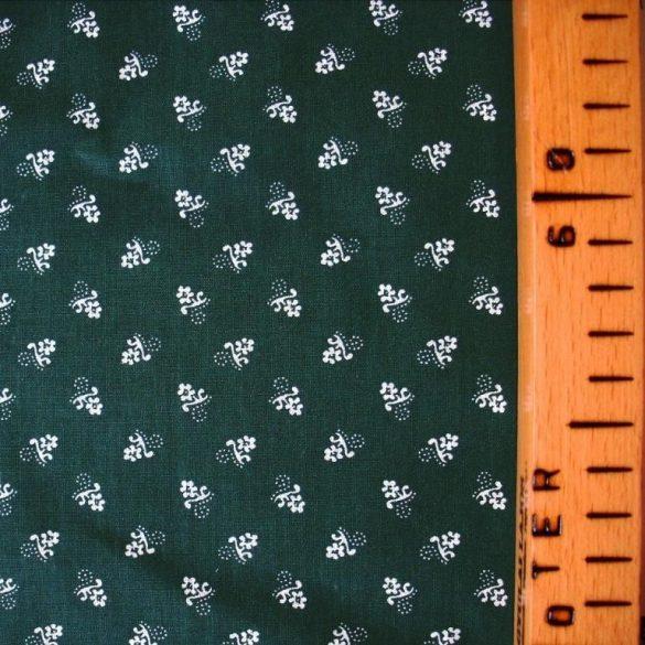 Kékfestő aprómintás zöld pamut vászon