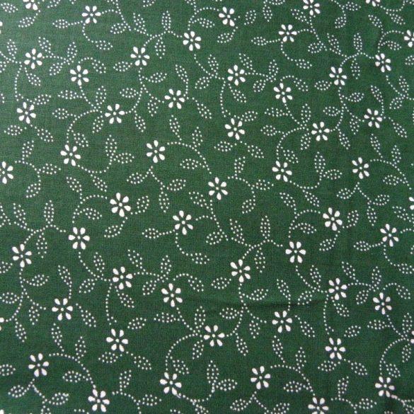 Kékfestő leveles, virágos zöld pamut vászon