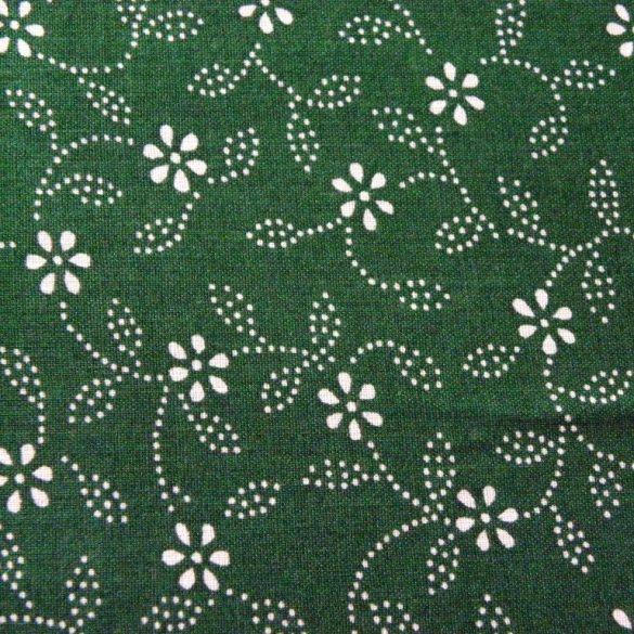 ILONKA, kékfestő mintás, leveles-virágos zöld pamutvászon
