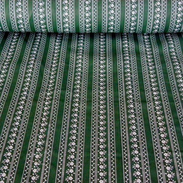JULISKA, csíkos kékfestő mintás pamutvászon, zöld
