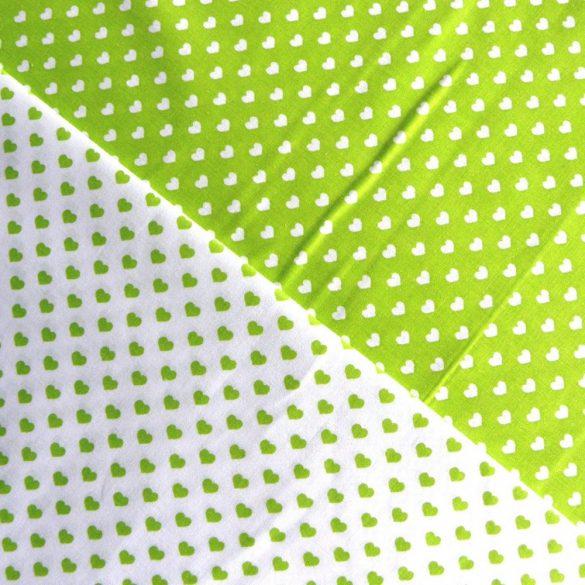 Írisz fehér szíves, tavasz-zöld pamutvászon