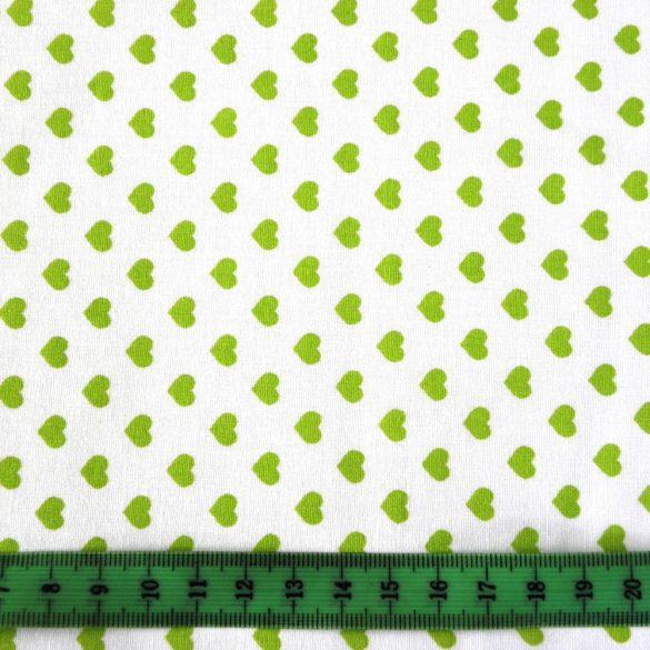 Írisz tavasz-zöld szíves pamutvászon