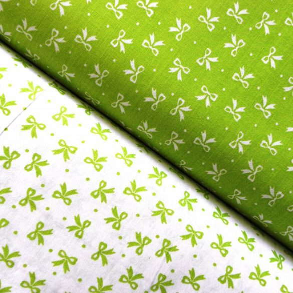 Írisz tavasz-zöld masnis pamutvászon