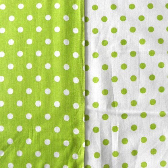 Írisz tavasz-zöld pöttyös pamutvászon