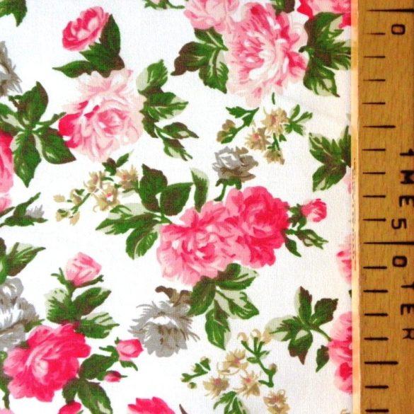 RÓZSÁK, rózsaszín-pink rózsamintás,150 cm széles pamutvászon