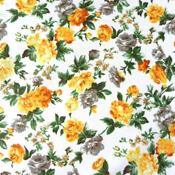 RÓZSÁK, sárga rózsamintás,150 cm széles pamutvászon