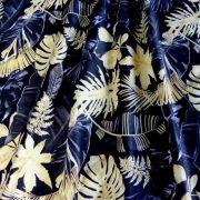 PALM, extra széles, pálma mintás pamutvászon, fekete-arany