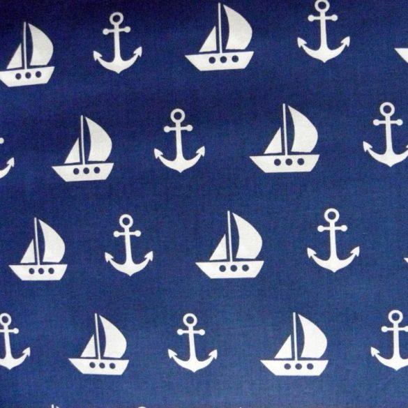 VITORLÁS, extra széles, tengerész mintás pamutvászon