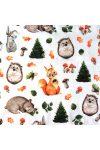 MÓKUSKA és barátai, állatmintás  extra széles pamutvászon