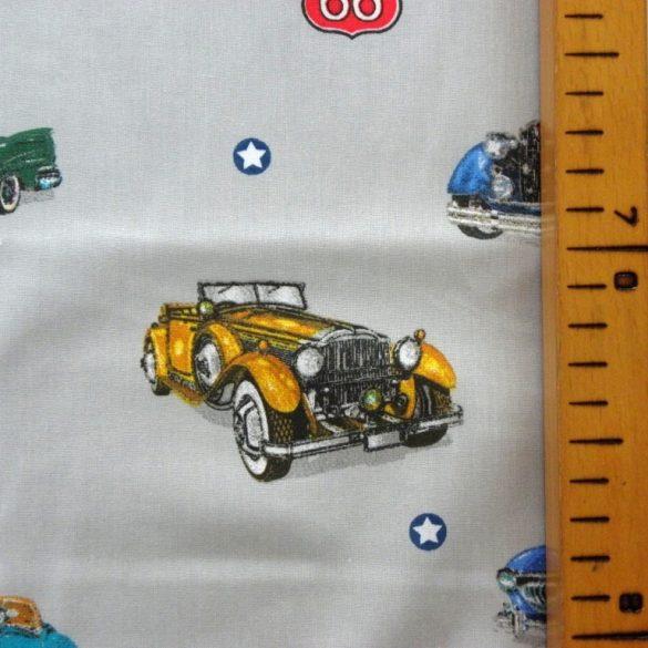 OLDTIMER, régi autók mintás extra széles pamutvászon - szürke