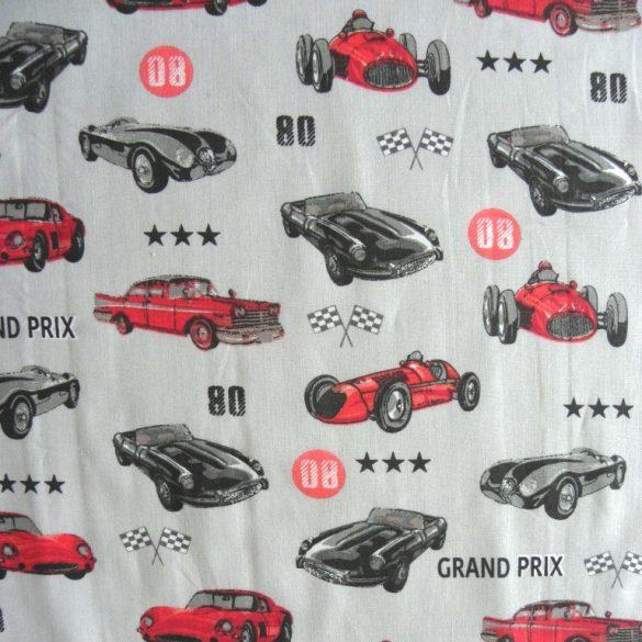 GRAND PRIX, autóverseny mintás extra széles pamutvászon - szürke