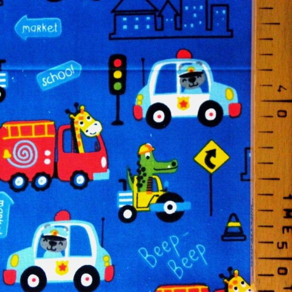 BEEP, extra széles, állatos, járműves, gyerekmintás pamutvászon