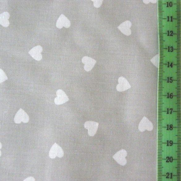 Szürke, fehér szív mintás, extra széles pamutvászon