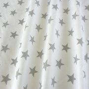 Fehér, szürke csillag mintás, extra széles pamutvászon
