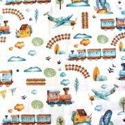 BOY, vonatos, repülős színes, kismintás, extra széles pamutvászon