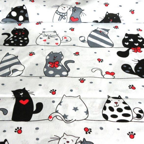 CATS LOVE, extra széles, cicás, fehér-piros, gyerekmintás pamutvászon