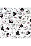 Rózsaszín masnis Minnie fej kismintás extra széles pamutvászon, fehér