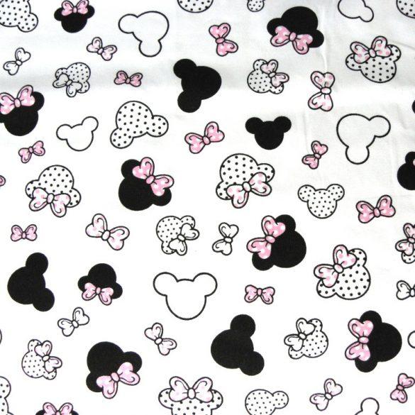Rózsaszín masnis Minnie fej kismintás extra széles pamutvászon
