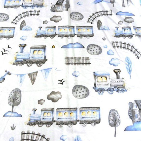 BOY, vonatos, repülős kék mintás, extra széles pamutvászon