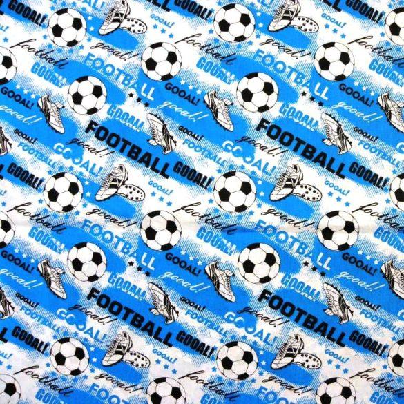 GOÓL, foci mintás extra széles pamutvászon - kék