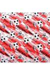 GOÓL, foci mintás  extra széles pamutvászon - piros