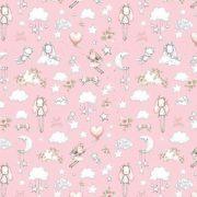 ÉDES ÁLOM, extra széles, gyerekmintás pamutvászon - rózsaszín
