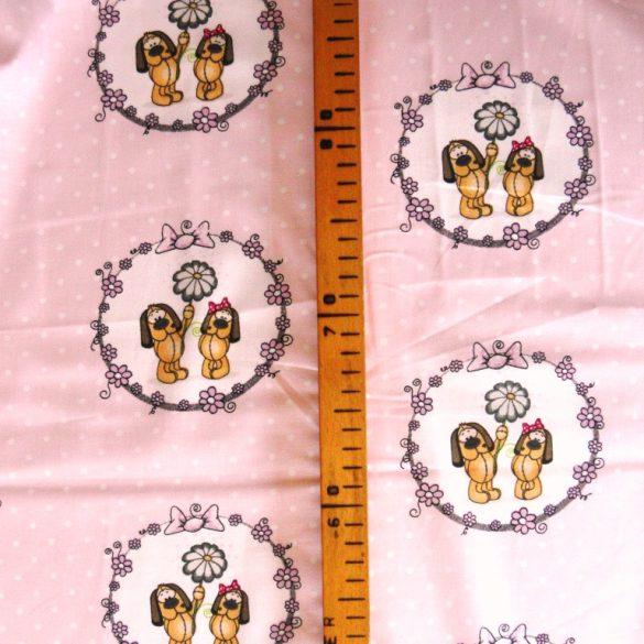 FIFI, extra széles, kutyusos, gyerekmintás pamutvászon, rózsaszín pöttyös