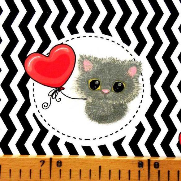 GIMO, bájos cicus szív lufival, extra széles, gyerekmintás pamutvászon