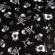 JACK, extra széles, fekete, kalóz, koponya mintás pamutvászon