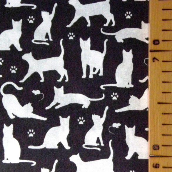 VICA, extra széles, cica mintás, fekete-fehér pamutvászon