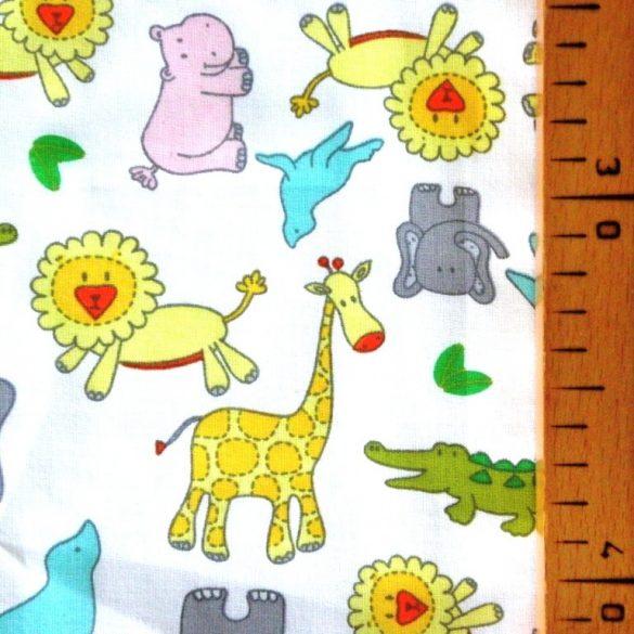 ZOO, extra széles, állatos, gyerekmintás pamutvászon