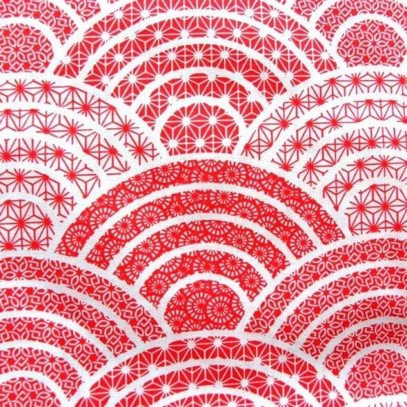 BOGEN, íves, csipkemintás pamutvászon, fehér-piros