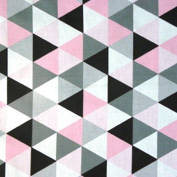 TRIA, geometrikus mintás, extra széles pamutvászon - rózsaszín