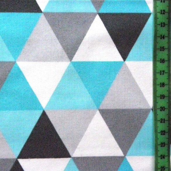 TRIA, geometrikus mintás, extra széles pamutvászon - türkiz