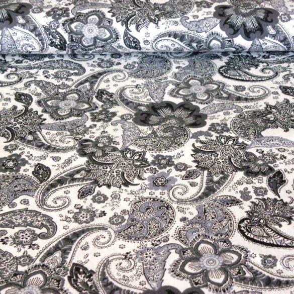 MUMBAY, extra széles, szürke-fehér, oriental paisley mintás pamutvászon