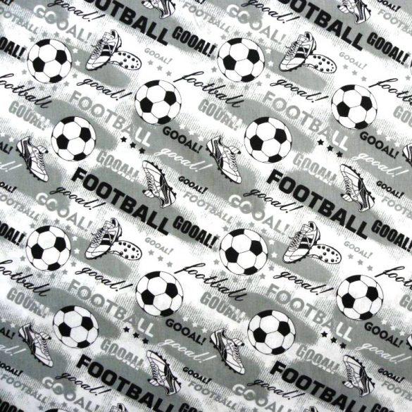 GOÓL, foci mintás  extra széles pamutvászon - szürke