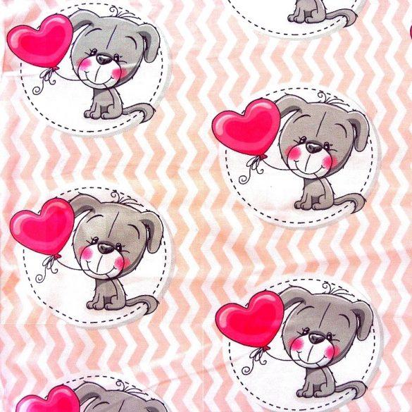 TOTO, kutyus szív lufival, extra széles,  gyerekmintás pamutvászon, barackrózsaszín