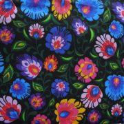 FOLKLÓR, extra széles, sűrű virágmintás pamutvászon, fekete