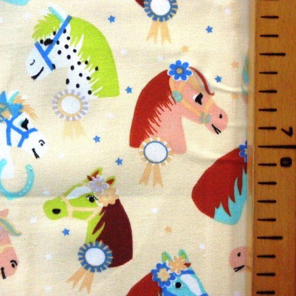 RÁRÓ, extra széles, lovacskás, gyerekmintás pamutvászon, bézs