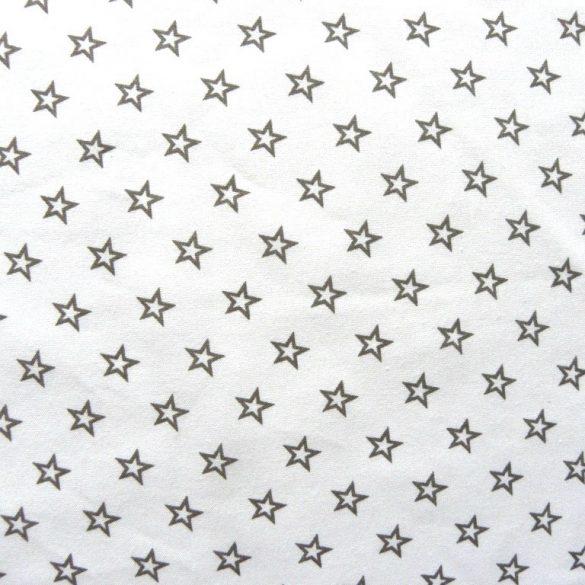 CSILLAGOCSKA, extra széles pamutvászon - fehér-szürke