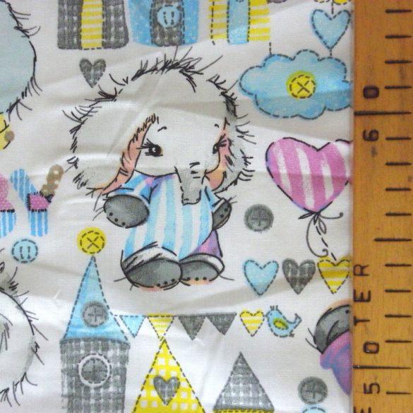 BABY FÁNI, extra széles, elefántbébi mintás pamutvászon, fehér