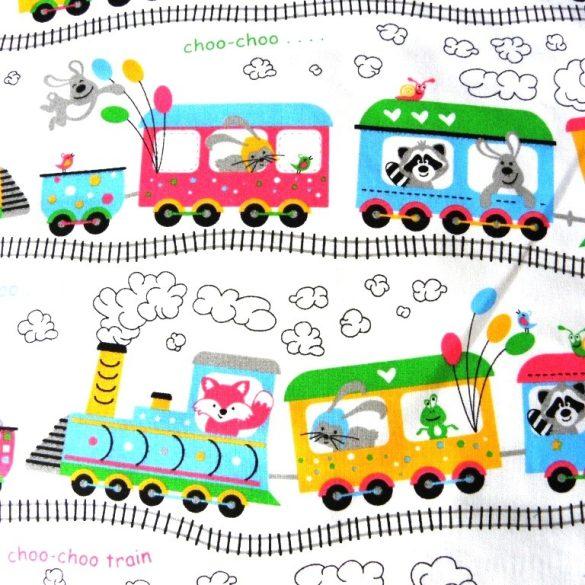 SIHUHU, extra széles, vonatos, állatos pamutvászon, fehér