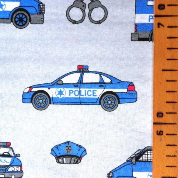 POLICE, extra széles, rendőrös, gyerekmintás pamutvászon, világos szürkéskék