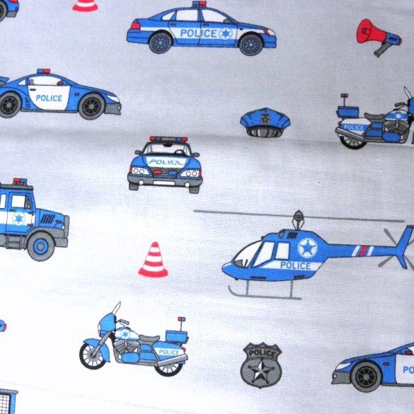 POLICE, extra széles, rendőrös, gyerekmintás pamutvászon, égszínkék