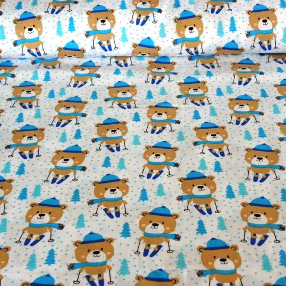 MISKA, síelő maci, extra széles, gyerekmintás pamutvászon, kék