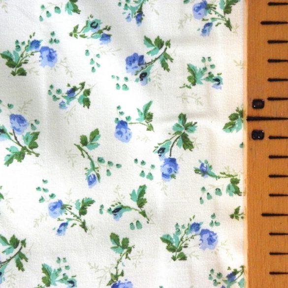 BABARÓZSA, extra széles, virágmintás pamutvászon, kék