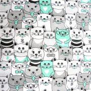 CAT TEAM, extra széles, cicás, fehér-menta, gyerekmintás pamutvászon