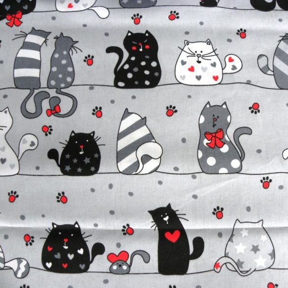 CATS LOVE, extra széles, cicás, szürke-piros, gyerekmintás pamutvászon