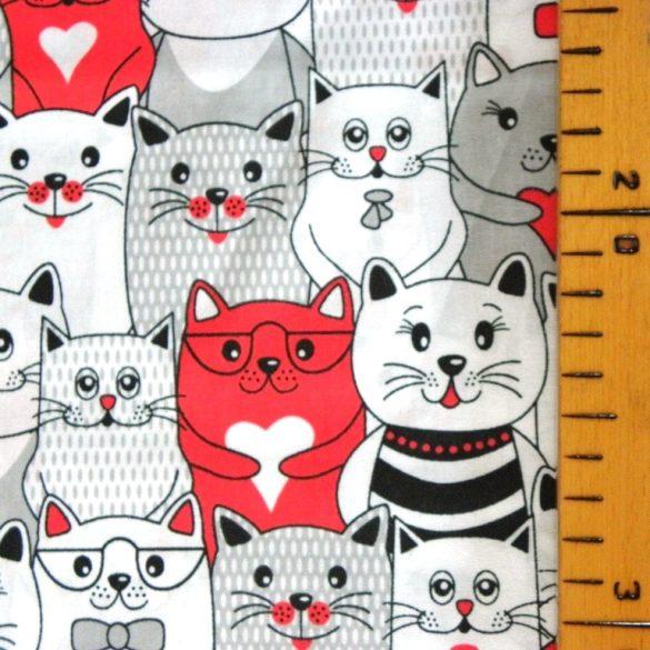 CAT TEAM, extra széles, cicás, fehér-piros, gyerekmintás pamutvászon