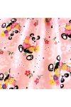 PANDA, virágos, panda macis, extra széles,  gyerekmintás pamutvászon, rózsaszín